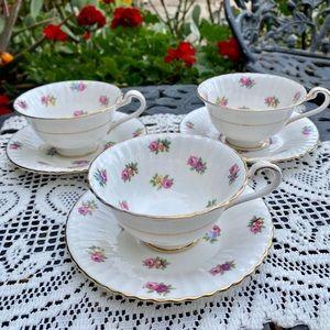 Vintage Tea Cups, Hand-painted Fine Bone China